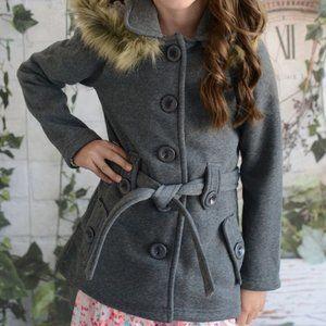 Girl Fleece Coat with Detachable Fur Lined Hood